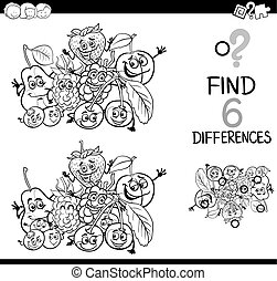 Black and White Cartoon Illustration of Finding the Difference Educational Activity for Children with Fruit Characters Coloring Page