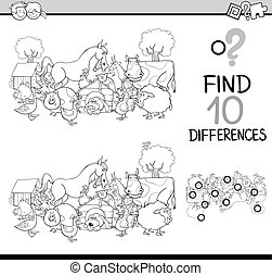 differences activity coloring book - Black and White Cartoon...