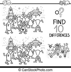 differences activity for coloring - Black and White Cartoon...