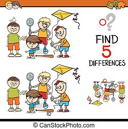 differences activity for kids - Cartoon Illustration of...