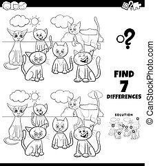 differences coloring game with comic cats group - Black and ...