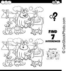 differences coloring game with dogs group
