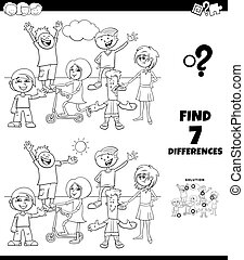 Black and White Cartoon Illustration of Finding Differences Between Pictures Educational Game for Children with Kids and Teens Characters Group Coloring Book Page
