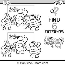 differences coloring page - Black and White Cartoon...