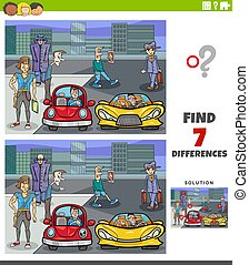 differences educational game with cartoon people and city - ...