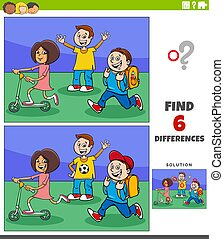 Cartoon illustration of finding the differences between pictures educational game with elementary age children