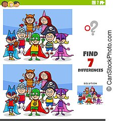 differences educational game with kids at costume party - ...