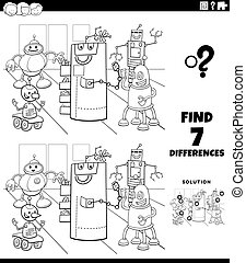 differences educational game with robots coloring book page...