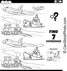 Black and White Cartoon Illustration of Finding Differences Between Pictures Educational Game for Children with Comic Transportation Vehicle Characters Coloring Book Page