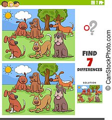differences educational task with cartoon dogs group
