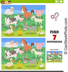 differences educational task with cartoon farm animals