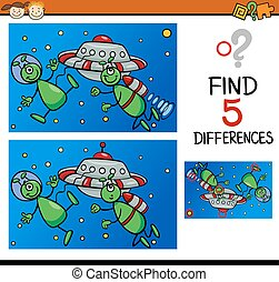 differences for preschoolers - Cartoon Illustration of...
