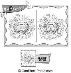 visual game, coloring book for children and adults. Task to find 9 differences bird on eggs. black and white vector illustration
