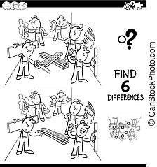 differences game color book with builders