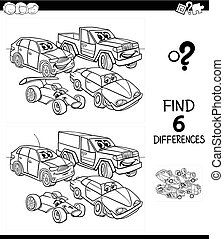 differences game color book with cars
