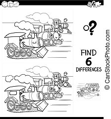 differences game color book with trains