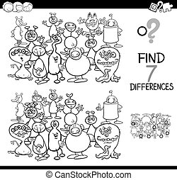 differences game with aliens coloring book - Black and White...