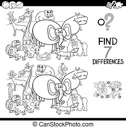 differences game with animals coloring book