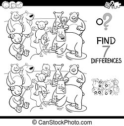 differences game with bear characters color book