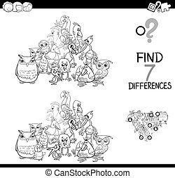 differences game with birds animals for coloring - Black and...