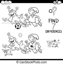differences game with boys and dogs color book - Black and...