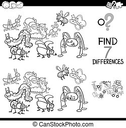 differences game with bugs group coloring book - Black and...
