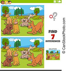 differences game with cartoon dogs group