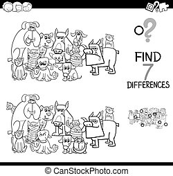 differences game with cats and dogs color book