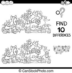 differences game with cats and dogs color book - Black and ...
