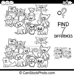differences game with cats coloring book