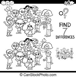 differences game with children coloring book - Black and ...