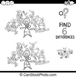 differences game with clown characters for coloring - Black...