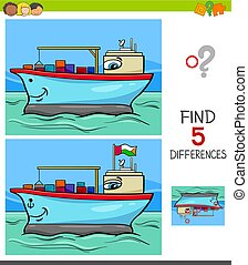 differences game with container ship