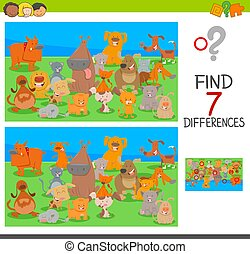 differences game with dog and cat characters