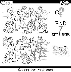 differences game with dog animals color book - Black and ...