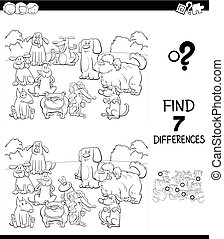 differences game with dogs color book