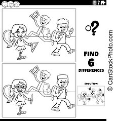 Black and white cartoon illustration of finding the differences between pictures educational game with elementary age pupils coloring book page