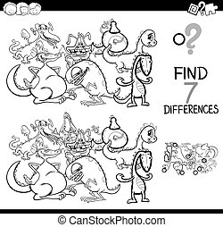 differences game with fantasy dragons coloring book - Black...