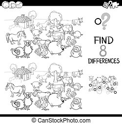 Black and White Cartoon Illustration of Finding Differences Between Pictures Educational Activity Game for Kids with Comic Farm Animal Characters Group Coloring Book