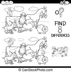 differences game with farm animals color book - Black and...