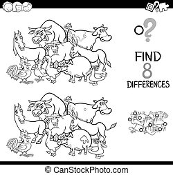 differences game with farm animals for coloring - Black and...
