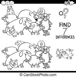 differences game with farm pigs coloring book - Black and...