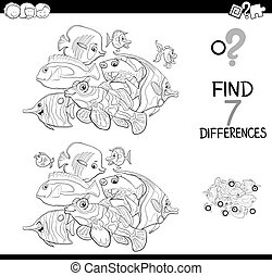 differences game with fish animals for coloring - Black and...