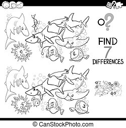 differences game with fish coloring book