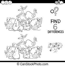 differences game with funny animals for coloring
