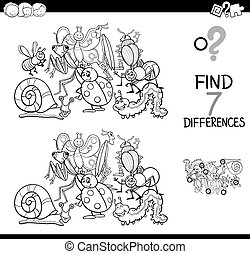 Black and White Cartoon Illustration of Finding Seven Differences Between Pictures Educational Activity Game for Kids with Insects Animal Characters Group Coloring Book