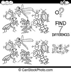 Black and White Cartoon Illustration of Finding Seven Differences Between Pictures Educational Activity Game for Children with Insects Animal Characters Group Coloring Book