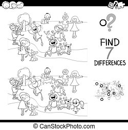 differences game with kids and dogs for coloring - Black and...