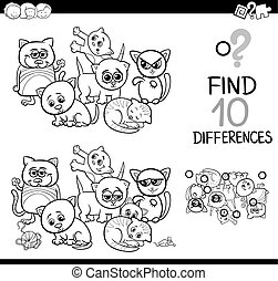 differences game with kittens - Black and White Cartoon...