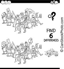 differences game with people group color book